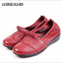 Big Size spring latest flat shoes genuine cow leather women's loafers in large size