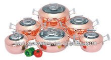12pcs High Quality 2.5mm Tri-ply Copper Cookware Sets With vegetable Shape for Wholesale