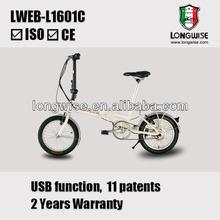 "16"" lightweight folding electric bike with internal lithium battery"