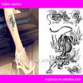 Black tiger design glitter etiqueta do tatuagem, black tattoo glitter adesivos, transferência de água do corpo tatuagem adesivos para homens