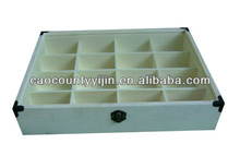 wood tea box with compartments