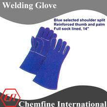 "welding glove, blue selected shoulder split, reinforced thumb and palm, full sock lined, 14"" welding gloves/ EN388"