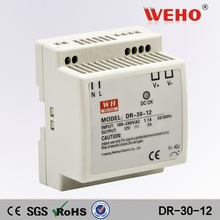 CE ROHS approved dc output 30w din rail power supply ac adaptor