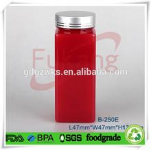 250cc PET plastic pill / vitamins / health food square bottle factory,250ml PET plastic sex pill red color bottle/ jar screw cap