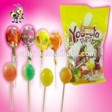 Colorful BONBON Bubble Gum Inside Yogurt Mix Fruity Hard Lollipop Candy