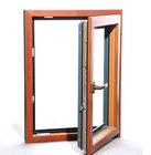 Aluminium cladding wood window with double tempered clear glass