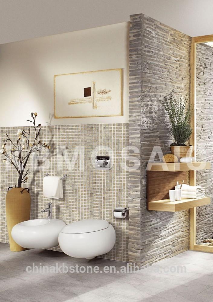 Beige travertijn tegel moza ek gemengd wit marmer modena terra steenmoza ek badkamer huid - Kleur gemengde kamer ...