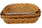 wholesale rectangle 3pcs wicker flat basket (factory supplier)