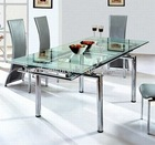 DT-229 Mordern expandable glass dining table/dining room furniture