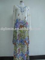 Latest Fancy Print Chiffon Islamic Baju Kurung and Kebaya