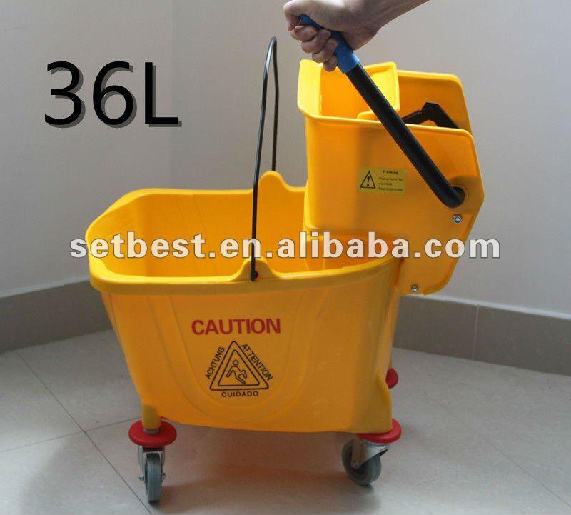 Side Press Mop Bucket with Wringer 36 Quart/9 Gallon Capacity