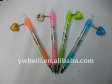 cute colorful erasable plastic ball pen with rubber for kids