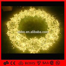 shopping mall supplies warm white 3d motif ball christmas wreath light