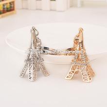 fashion crystal rhinestone eiffel tower 3d model metal keychain key chain
