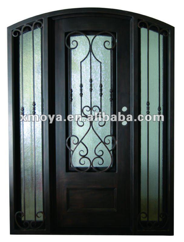 ferro battuto vetro temperato porta singola con sidelight-Porta-Id ...