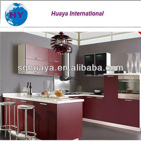 Mejor venta de gabinete de cocina de color rojo vino de for Best chinese kitchen cabinets