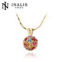 Colorful Crystal Ball fashion artificial rose gold necklace N019