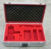customized aluminum tool case with red cut-out foam insert