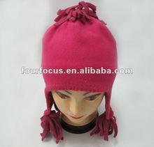 hot selling girl fleece hat /fleece earflap hat