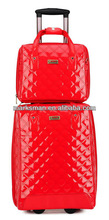red color embroidery 2pcs set shiny PU leather luggage
