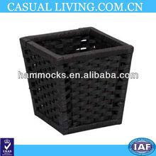 Newly Design Paper Rope Waste Basket, Dark Brown Stain