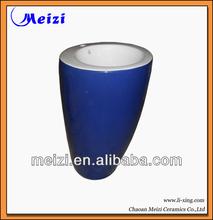 multicolor one piece blue pedestal basin