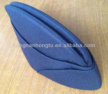 Blue uniform cap/femal lana cap 100% wool felt wear in airline/railways/hotel