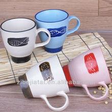 Color Rim Stoneware Drum Promotion Mug