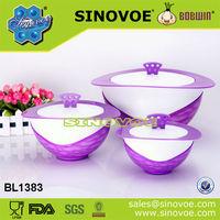 3pcs family use water flow design bowl shape keep food warm casserole hot pot set