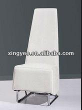modern living room chromed steel metal frame white PU leather high back dining chair
