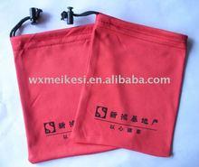 1 color silk print 100%microfiber pouch bag