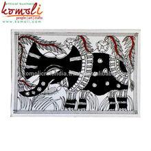 Madhubani Folk Painting Handpainted Seasons Greeting Card with Elephant