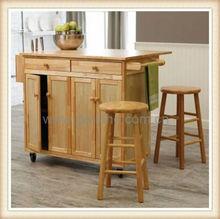 2014 mobile wood kitchen food trolley,rubber wood kitchen trolley kitchen furniture