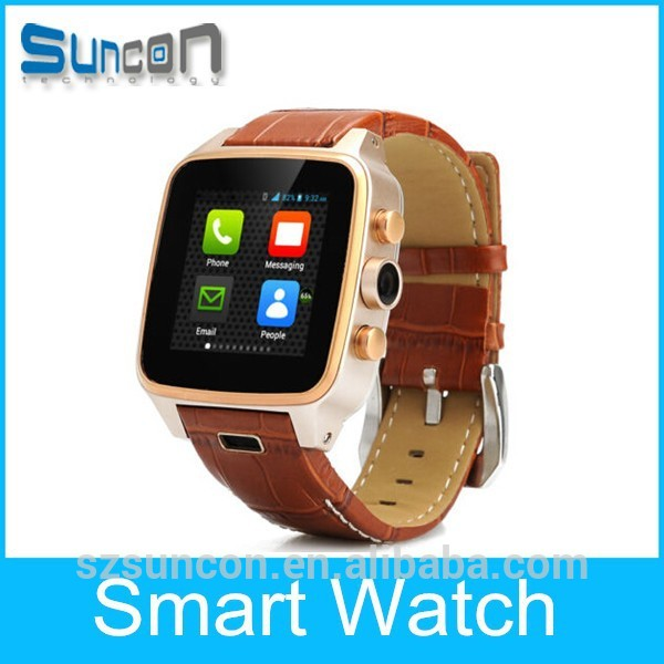 MTK6572 Genuine leather watch band bluetooth/GPS/WIFI android smart watch