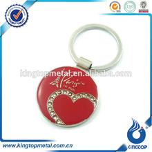 customized round shape zinc alloy with epoxy Paris souvenir keyring