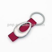 fashionable blank aluminum alloy red leather key ring