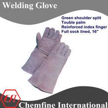"""welding glove, grey shoulder split, double palm and reinforced index finger, full sock lined 16"""" leather welding gloves/ EN388"""