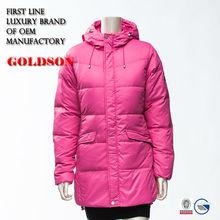 2014 Korean Design Winter Outdoor Hoody Mid-length Girl Red Down Bomber Jacket