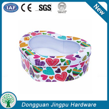 Colorful metal can candy box with window