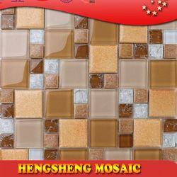 Latest design decoration wall tile floor tile glass mix ceramic mosaic dark green onyx floor tiles