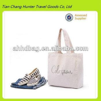 2014 Reusable White Cotton Canvas Tote Bag For Shoes