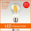New product CE RoHS AC85-265V led filament bulb 8w led filament