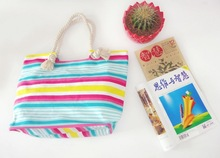 2014 fashion customized cotton beach bag with rope handle