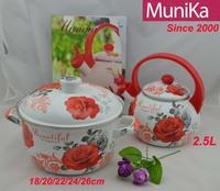 Popular china Enamel kitchenware colorful cookware Set 24cm casserole porcelain cooking pot with whistling tea Kettle