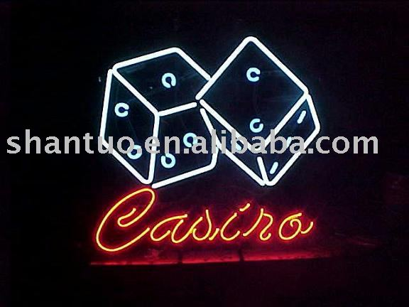 Casino dice neon light