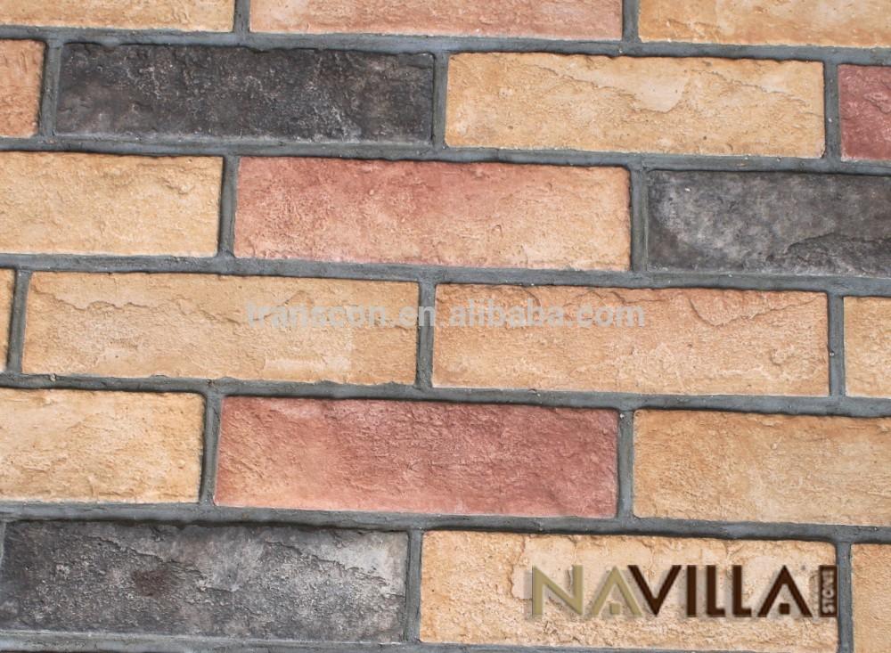 Faux Colorful Used Brick Veneer Interior Wall Decoration