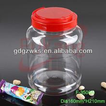 3500ml transparent plastic large pickle jars food grade with handle cap,3.5L PET large pet plastic food packaging jars supplier