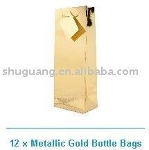 single wine bottle gift bag metallic gold