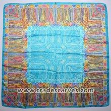 Hot selling blue fresh design square 100 silk scarf