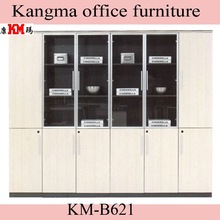 new design cheap bookcase with glass door and drawers bookcases KM-B621